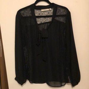 Sejour Nordstrom Black Lace Tie Neck Blouse 18W